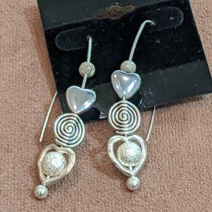 Shepherd's Hook Pierced Earrings with Heart Beads
